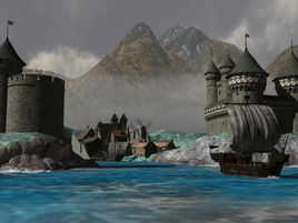 Port & castle Ayr, capitol of the barony of Lindal on Planet Archipelago.