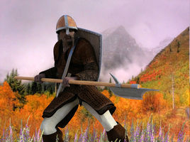 A guardsman for the Barony of Aylsbury on Planet Archipelago.