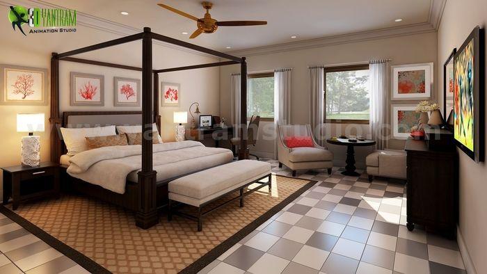 Unique Interior Bedroom Rendering Ideas by Yantram interior design