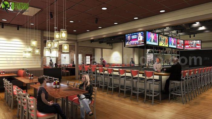 Smokey Bones Classic Restaurant Renovation Design Rendering Ideas By  Yantram Interior Design Firms San Diego,