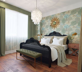 Bedroom with forest wallpaper