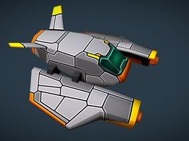 Sci-Fi Space Gun Fighter Ship - for Mob and RTS games - LowPoly