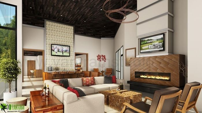 Modern Club House Rendering Ideas By Yantram 3d Interior Designers Atlanta,  USA