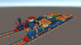 A cartoon train locomotive with wagons and rails