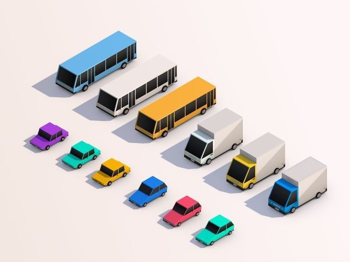 Cartoon Low Poly City Cars model