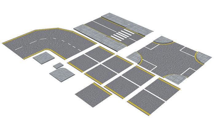 Roads Construction Kit Low-poly 3D model