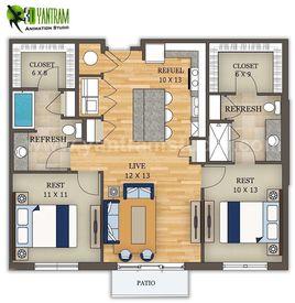 2D Site Floor Plan Design by Yantram 3D Animation Studio, Los Angeles - USA