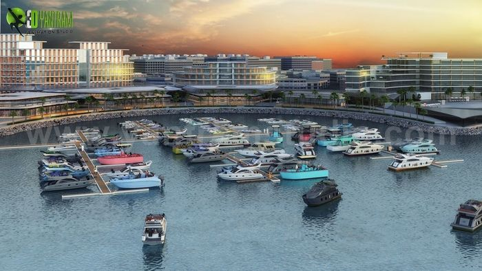 Beach Side Hotel Design with Yacht Station by Yantram Architectural Rendering Service, Dubai - UAE