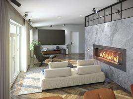 3d render living+kitchen