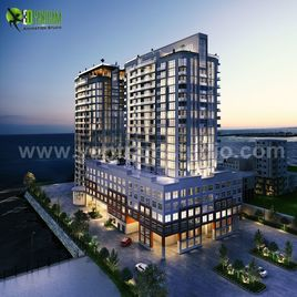 3D Exterior Modeling Of A New High-Rise Luxury Building Developed by Yantram 3D Exterior Design Companies, Vancouver - Canada