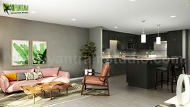 Open Concept Kitchen Living Room 3D Interior Rendering Ideas Developed By Yantram 3D Animation Studio, Doha - Qatar