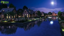 Romantic Night View of Waterside Villa 3D Exterior Modelling By Yantram 3D Animation Studio, Sydney-Australia