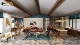 Modern Elegance Clubhouse rendering interior design studio by Yantram architectural modeling firm, Amsterdam – Netherlands