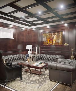 Interior Neoclassic Billiard Room 01