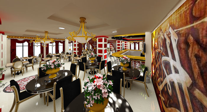 Muslim restaurant interior design cgtrader