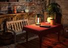 Cozy hut interior scene