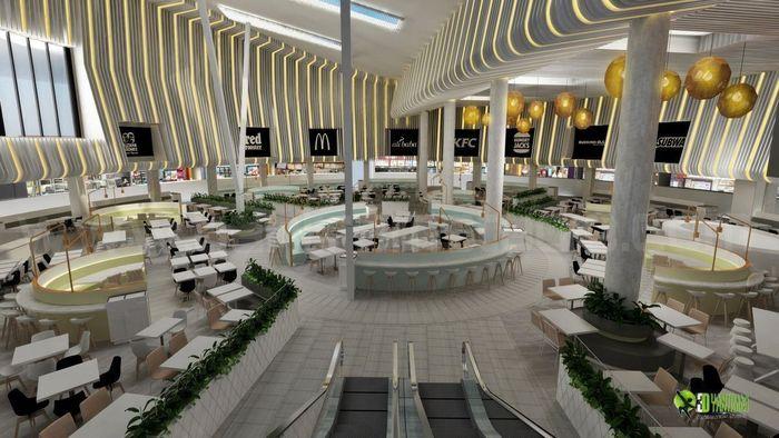 Stylish 3D Modern Interior Shopping mall - Restaurant Design | CGTrader