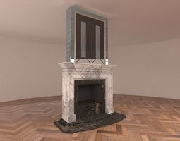 3D model low-poly Fireplace living