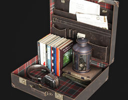 Open Suitcase Decorative set 3D
