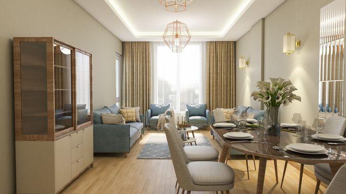 modern living room 3d model fbx c4d 1