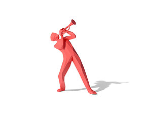 3D model Low Poly People Playing Trumpet