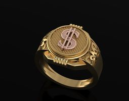 3D print model Dollar sign gents ring