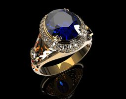 3D printable model MEN RING ROYAL BLUE SAPPHIRE