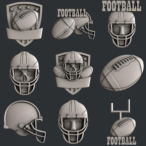 3d stl models for cnc set american football 3d model stl 1