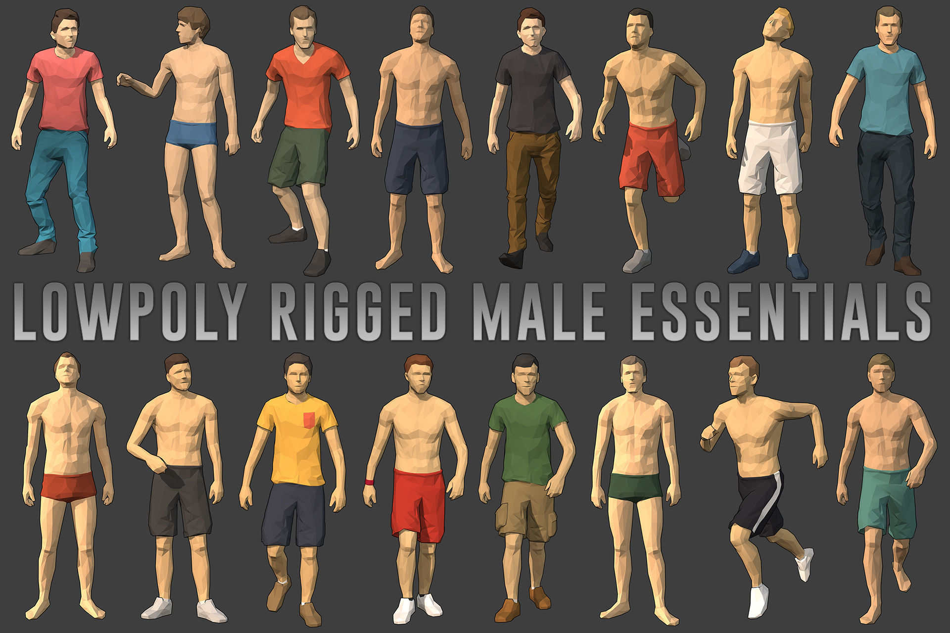 Lowpoly Rigged Male Essentials