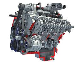 Sectioned Animated V8 Engine 3D model