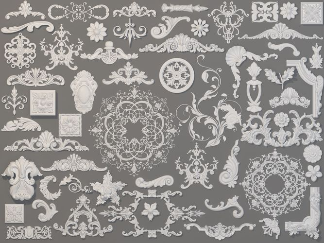 carved elements collection -1 - 59 pieces 3d model max obj mtl fbx stl 1