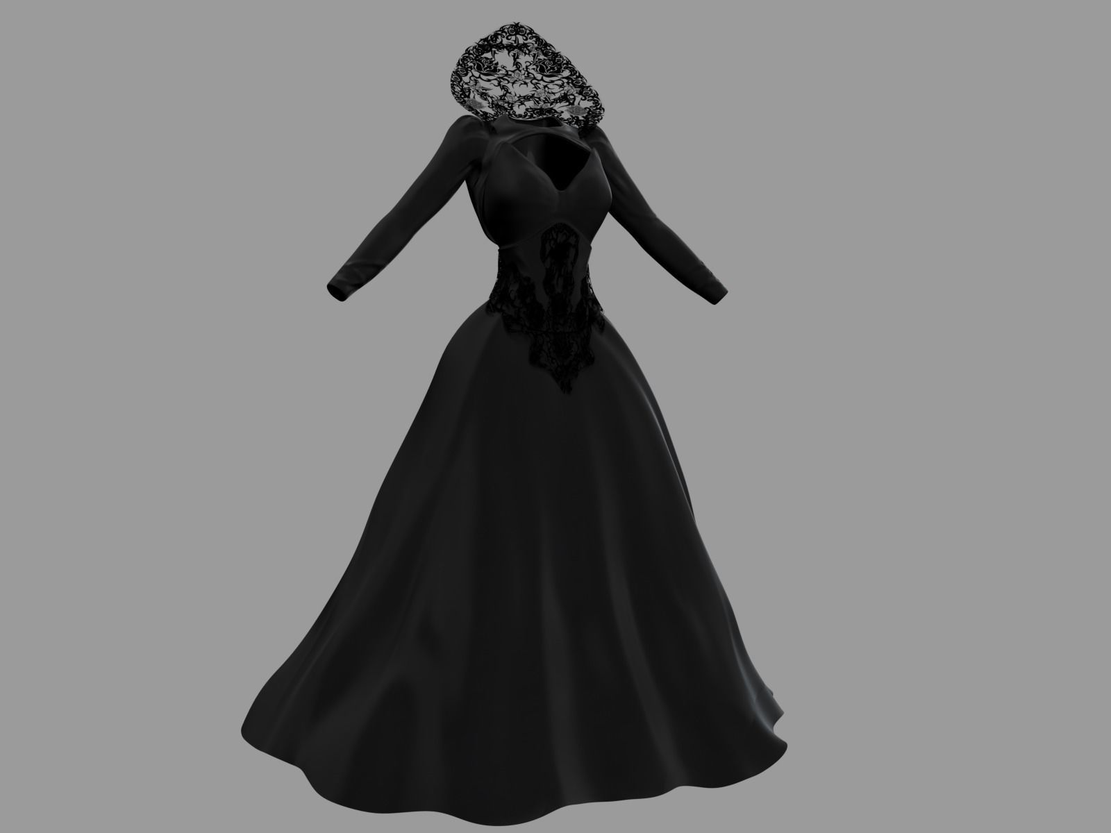 3D model Victorian Gothic Dress 4 | CGTrader