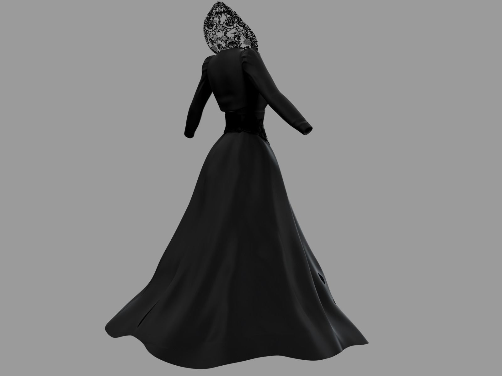 bc38cb50b68 Victorian Gothic Dress 4 Low-poly 3D model