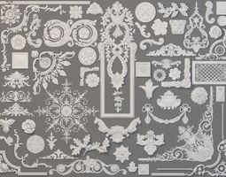 Carved Elements Collection -4 - 58 pieces 3D