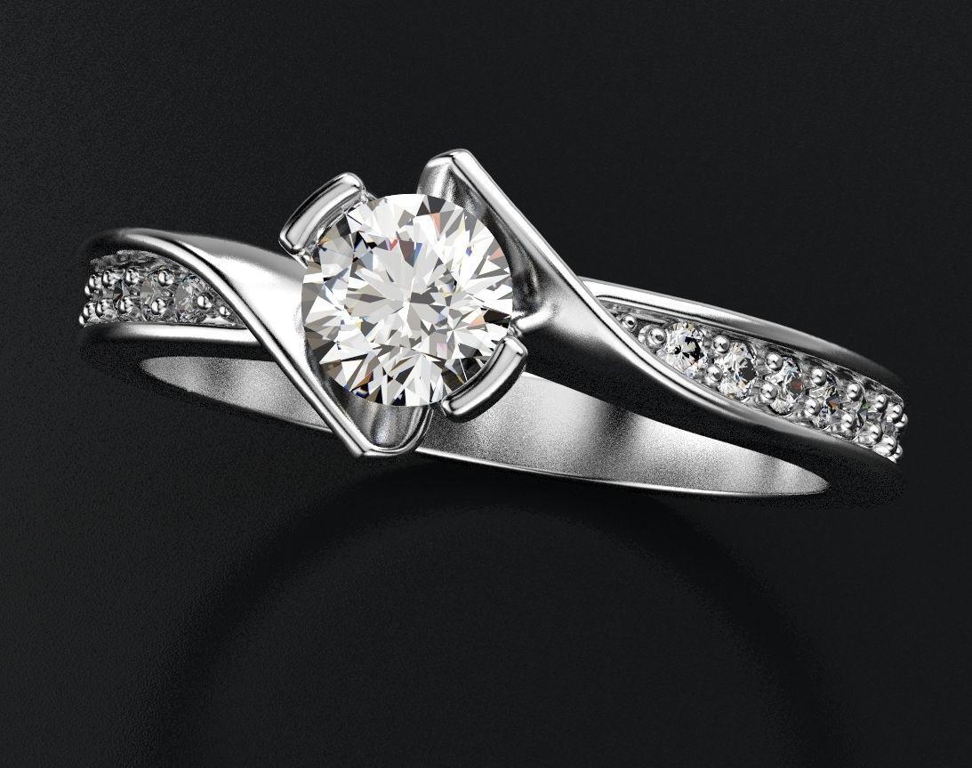 Interesting stylish engagement ring with diamonds 432