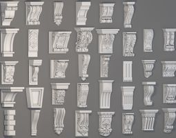 Corbels Collection -1 - 38 pieces architectural 3D
