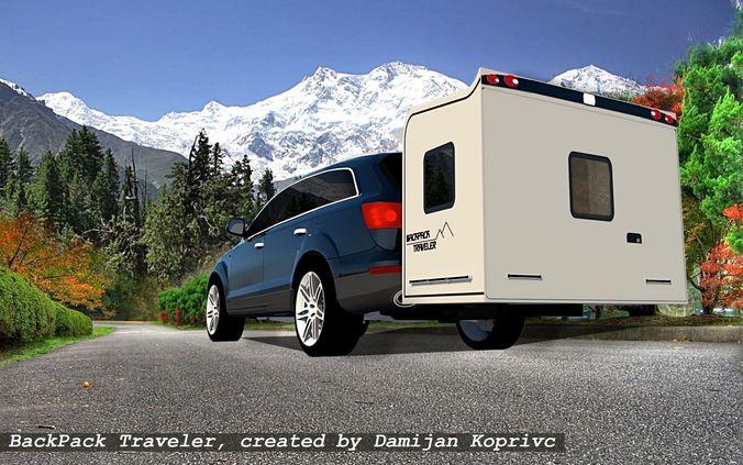 wheel less trailer backpack traveller 3d model skp 1