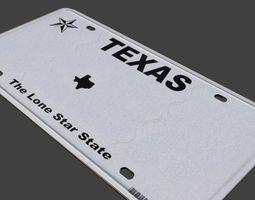 3D model VR / AR ready TEXAS licence plate