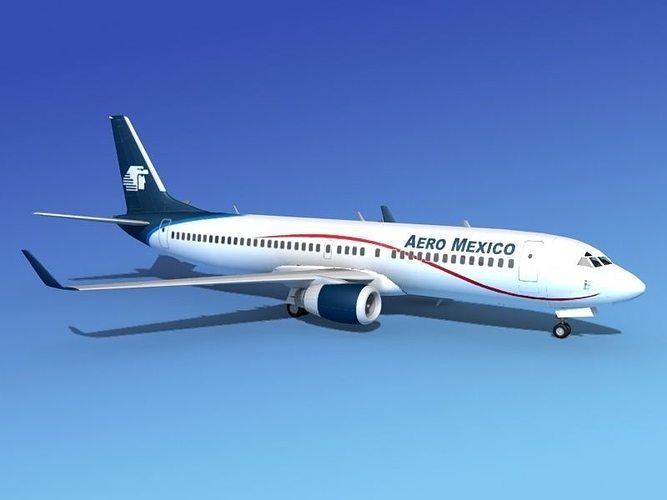 boeing 737-800 aero mexico 3d model max obj mtl 3ds lwo lw lws stl 3dm 1