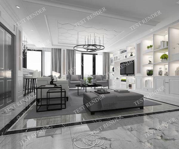 3d modern classic lobby living room with bookshelf and 1 rh cgtrader com