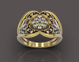 Diamond filigree fusion ring 3D print model