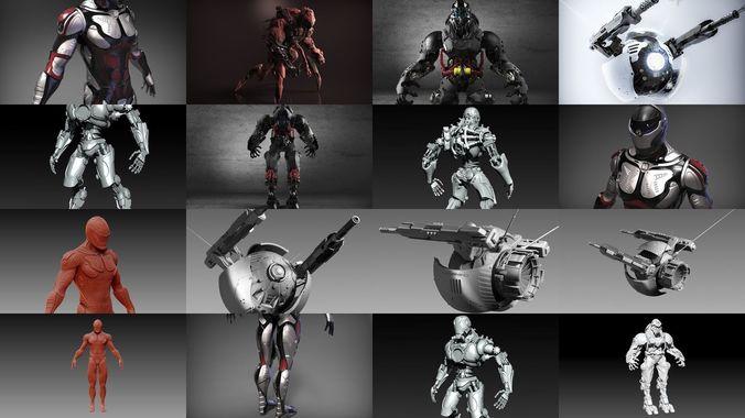 sci-fi characters part 4 3d model obj mtl ztl 1