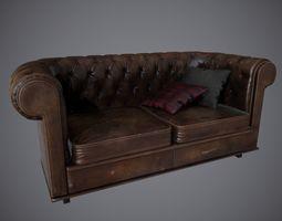 3D model Lowpoly PBR Old Worn Sofa