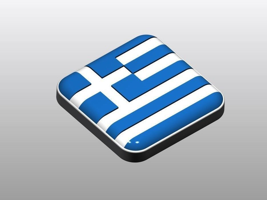 Button shape Greece Flag