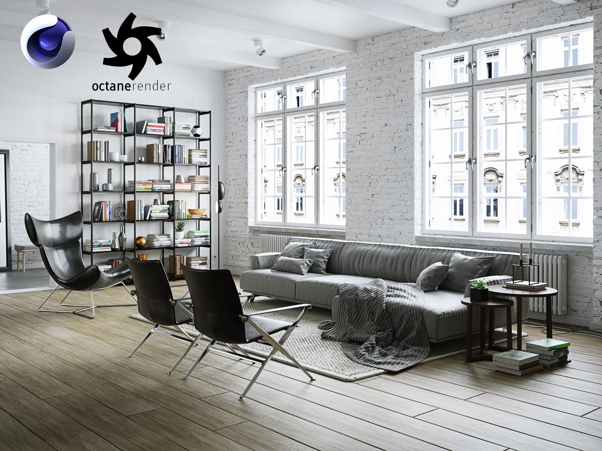 Living Room Interior Scene for Cinema 4D and Octane Render