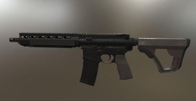 mk18 assault rifle 3d model fbx blend tga 1