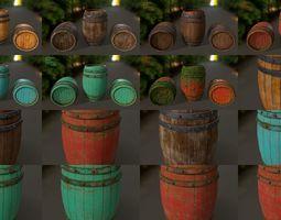 3D wood barrel set