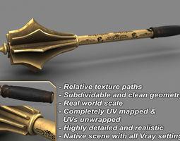 3D Golden Medieval Mace