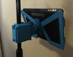 snap-clip folding ipad microphone stand mount 3d print model