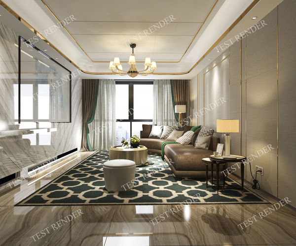 3D Model Classic Modern Luxury Living Room With Tv